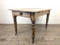 Antique Pine Farmhouse Kitchen Table with Drawer (8 of 13)