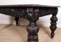Carved Oak Desk Library Table Gothic Jacobean Large 19th Century (13 of 18)