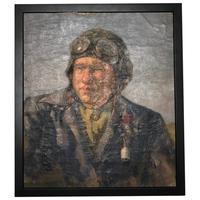 "Russian School Oil Painting Portrait ""The Pilot"" Ivan Nikolayevich Shulga"