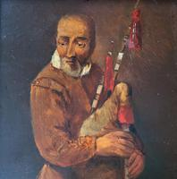 Original 18th Century Miniature Oil on Panel Portrait Painting of Bagpipe Player (3 of 11)