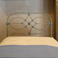 Blue Verdigris Platform Style Victorian Antique Single Bed (7 of 8)