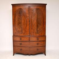 Antique George III Bow Fronted Linen Press (4 of 11)