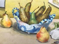 Original Watercolour 'Still-life of Pears, Fennel and Teddy Bear by Colleen Farr (6 of 6)