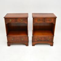 Pair of Antique Georgian Style Burr Walnut Bedside Cabinets (2 of 10)
