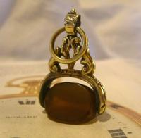 Antique Pocket Watch Chain Fob 1870s Victorian Huge Brass & Amber Stone Swivel Fob (4 of 10)