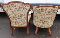 1859 Quality Beautiful Rosewood Mummy and Daddy Chair in Floral Upholstery (4 of 5)