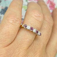 Vintage 18ct Ruby & Diamond seven stone ring ~ 40th wedding Anniversary (8 of 10)