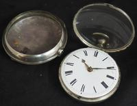 Antique Silver Pair Case Pocket Watch Fusee Verge Escapement Key Wind Enamel Dial James Bucknell (2 of 11)