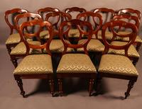 Good Set of 12 Victorian Mahogany Balloon Back Dining Chairs (2 of 9)