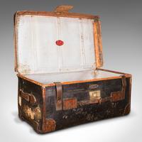Vintage Overseas Voyage Trunk, English, Leather, Travel Case, Luggage c.1930 (2 of 12)