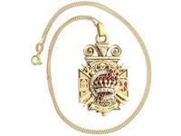 0.29ct Diamond, 0.20ct Ruby & Enamel, 12ct Yellow Gold Masonic Pendant / Watch Fob - Antique c.1900 (2 of 15)