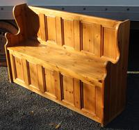 1960's Country Pine Large Panelled Settle (2 of 4)