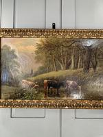 Antique 19th Century British River Landscape Oil Painting of Cows Cattle Signed JD Morris '1 of 2' (3 of 10)