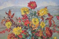 Large Mid Century Oil Painting Still Life of Chrysanthemums (2 of 10)