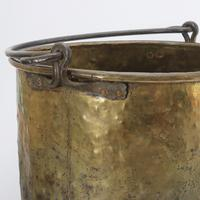 Large Age Patinated Brass Log Bin with Iron Swing Handle C1875 (4 of 9)