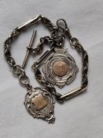 Antique Sterling Silver Double Watch Chain/ Fancy Links with T-bar and Two Fobs