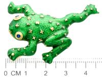 0.06ct Sapphire & Enamel, 18ct Yellow Gold Frog Brooch - Vintage c.1960 (7 of 9)