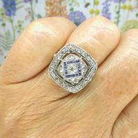 Authentic Art Deco Platinum Rose Cut Diamond & Sapphire Cluster Ring c.1920 (5 of 11)