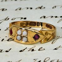 The Victorian 1892 Four Pearl & Ruby Ring (2 of 4)