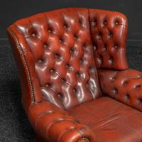 Burgundy Leather Chesterfield Wing-back Armchair (7 of 10)