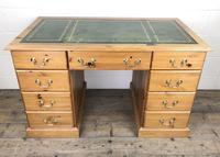 Late 20th Century Pine Pedestal Kneehole Desk (14 of 14)