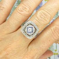 Authentic Art Deco Platinum Rose Cut Diamond & Sapphire Cluster Ring c.1920 (6 of 11)