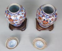 Good Pair of 19th Century Imari Porcelain Lidded Vases on Stands (9 of 10)