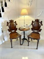 Unusual Pair of Antique Victorian Oak Hall Chairs