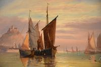 """Oil Painting Pair by George Dodgson Callow """"A Calm, Mounts Bay"""" and """"On the South Coast"""" (4 of 9)"""