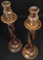 Pair of Arts & Crafts Oak Open / Barley Twist Candlesticks (6 of 10)