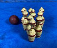 19th Century Skittles Game in Tunbridge Ware White Wood Painted Egg (10 of 21)