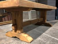 Large French Bleached Oak Trestle Farmhouse Dining Table (9 of 16)