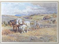 Ploughing the Fields - Downland Watercolour by Harold Swanwick 1905 (2 of 5)