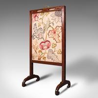 Antique Needlepoint Fire Screen, English, Mahogany, Fireside Guard, Regency (3 of 12)
