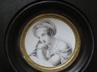 Miniature Portrait en Grisaille Hand Painted 1820 (2 of 3)
