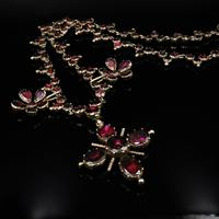Antique Georgian Flat Cut Garnet 15ct Gold Full Riviere Necklace with Pansy Drops & Cross (8 of 9)