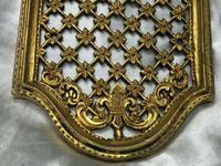 19th Century Antique Regency Gilt Bronze Coat of Arms Sunflower Acanthus Plaque (8 of 12)