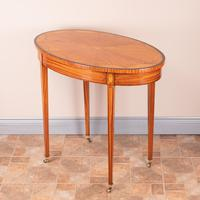 Inlaid Oval Satinwood Occasional Table (11 of 15)