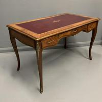 French Red Leather Top Bureau Plat (2 of 9)