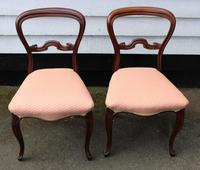 1900s Pair of Mahogany Cab Leg Chairs Pale Pink Upholstery (2 of 4)