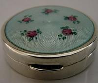 Pretty Sterling Silver Enamel Pill Snuff Box Art Deco c.1920