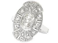 1.79 ct Diamond and 15ct White Gold Dress Ring - Antique Circa 1930