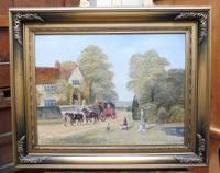Large oil on canvas Old fashioned  view  Listed artist Richard Temple (8 of 10)