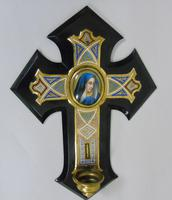 19th Century Champleve Enamel and Bronze Crucifix Holy Water Stoop (5 of 6)