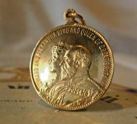 Antique Pocket Watch Chain Fob 1902 King Edward V11 & Greenock Ship Rose Gilt Fob (2 of 3)