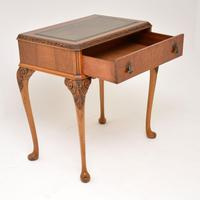 Antique Burr Walnut Leather Top Writing Table / Desk (5 of 10)