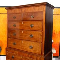Chest on Chest of Drawers 19th Century Inlaid Mahogany (4 of 11)