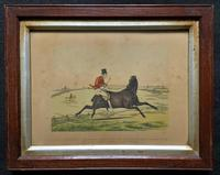 Set of Six 19thc Oak framed Humorous Coloured Sporting Hunting Engraving's (11 of 14)