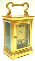Good Antique French 8-day Carriage Clock Bevelled Case with Embossed Decorated Masked Dial (7 of 12)