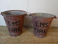 Pair 1920s Railway Lms  Fire Buckets